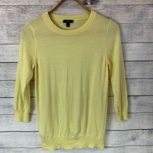 J Crew Merino Wool Sweater Tippi 3/4 Sleeve Yellow